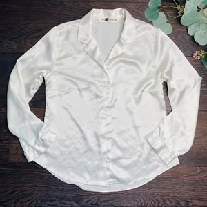 Victoria Secret White Satin Long Sleeve Top